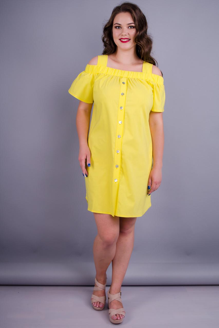 Gloria Romana Клариса. Красивое платье-рубашка плюс сайз. Желтый. 54