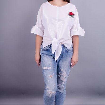 Gloria Romana Сати. Стильная блузка больших размеров. Белый. 56