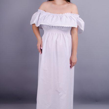 Gloria Romana Ксения. Красивый сарафан с воланом плюс сайз. Белый. 56