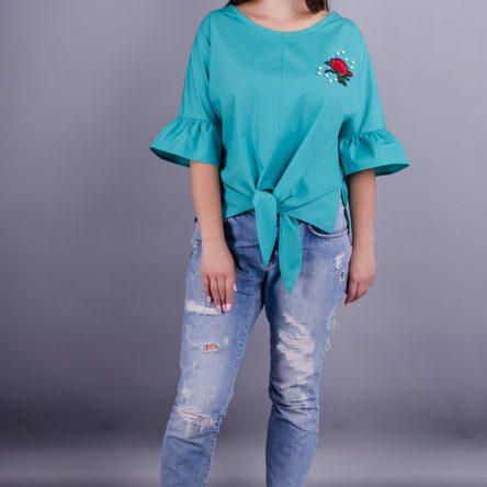 Gloria Romana Сати. Нарядная блуза плюс сайз. Мята. 50